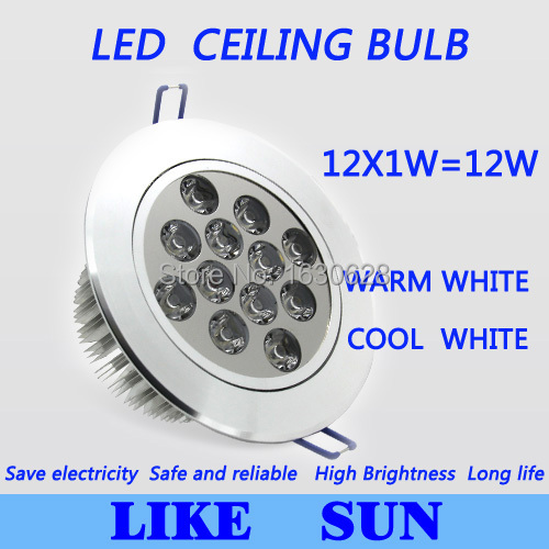 FREE SHIPPING Dimmable Led Ceiling downlight 12W 1200LM LED Recessed Ceiling Down lighting AC85-265V led bulb lamp downlight<br><br>Aliexpress