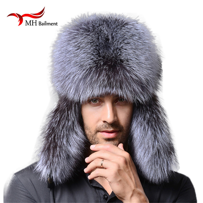 Men winter fur hat genuine leather bomer fur hat for men ear protect raccoon fur cap thick warm good quality winter hat M#1(China (Mainland))
