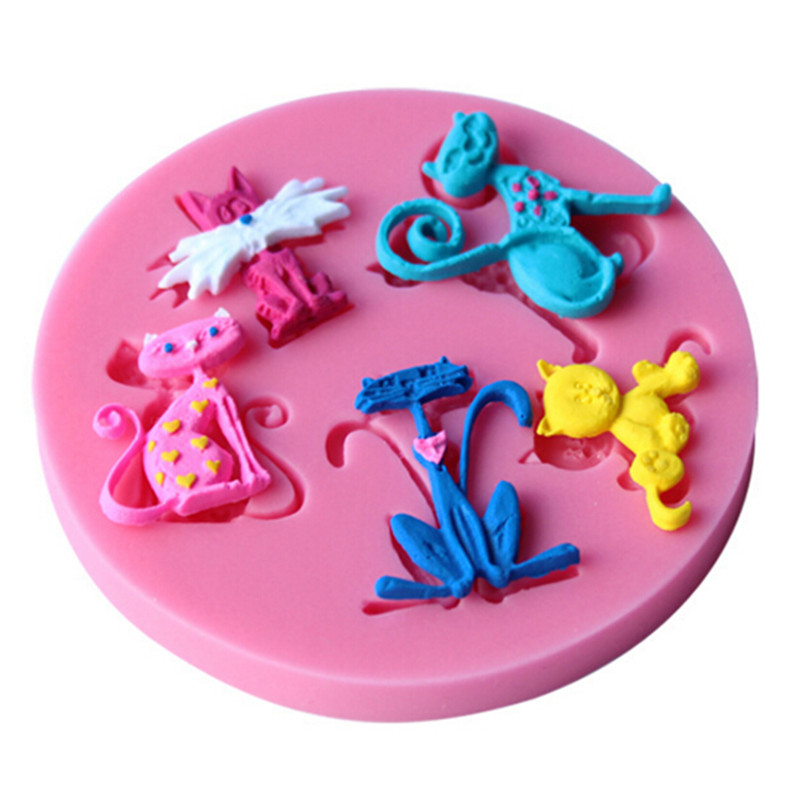 Chocolate Making Cake Decorating And Sugarcraft : 3D Cute Cat Shape Silicone Cake Mold for Soap Fondant Cake ...