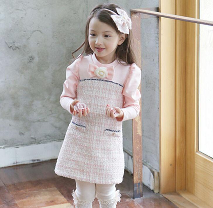 Fashion 2015  Winter Cotton Fleece Children Dress  Temperament  Girls Thickening Dress Pink Beige <br><br>Aliexpress