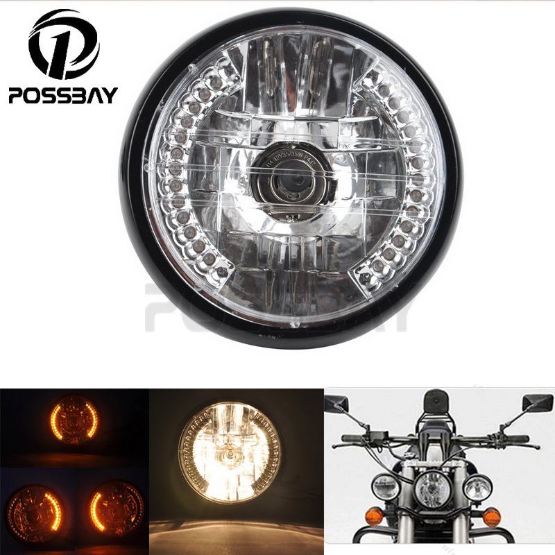 POSSBAY Universal 35W H4 Halogen Motorcycle Headlight Turn Signal Light Amber Lamp For Cafe Racer Chopper Motorcycle Headlamp(China (Mainland))