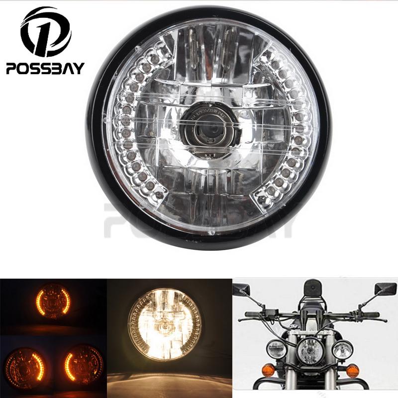 Universal 35W H4 Halogen Motorcycle Headlight Turn Signal Light Amber Lamp For Harley Touring Honda Yamaha Cafe Racer Headlamp(China (Mainland))