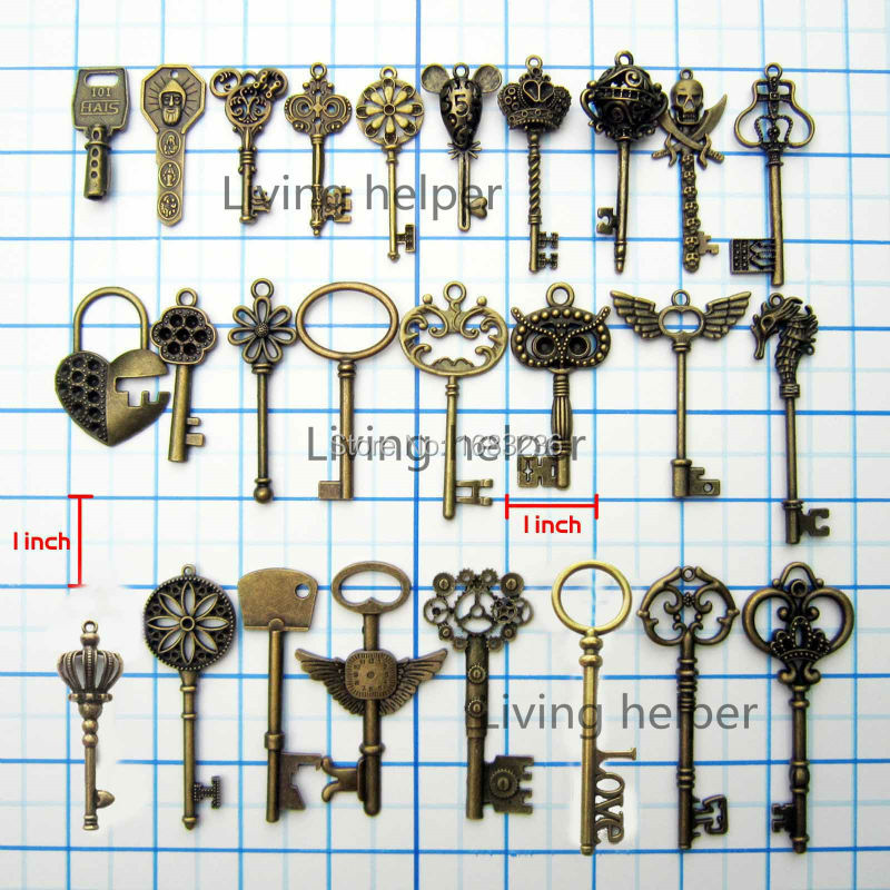 1x Heavy Duty Large Antique Vintage Vtg Old Look Decor Skeleton Key Pendant Bow Steampunk Charms Jewelry DIY(China (Mainland))