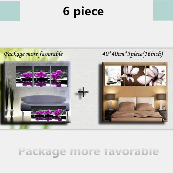 6Panels Sale Price flowe wall painting modern minimalist living room sofa backdrop murals paintings prints bedroom nightstand(China (Mainland))