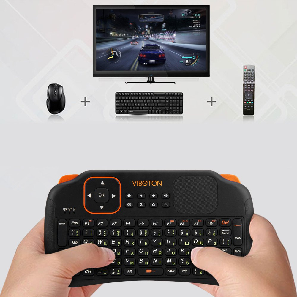 Viboton S1 English Russian 3-in-1 2.4GHz Wireless gaming Keyboard + Air Mouse + Remote Control with Touchpad for Windows Linux(China (Mainland))