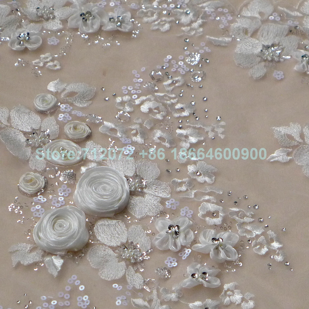ivory white 3d beaded sequins lace fabric 51
