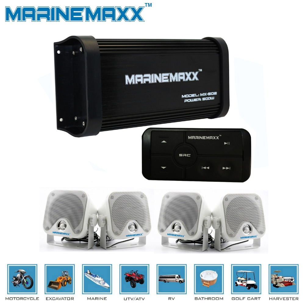 500W 4 Channels Waterproof Marine Bluetooth Amplifier Motorcycle Sound System Boat RV Car Golf Cart + Heavy Duty Marine Speakers(China (Mainland))