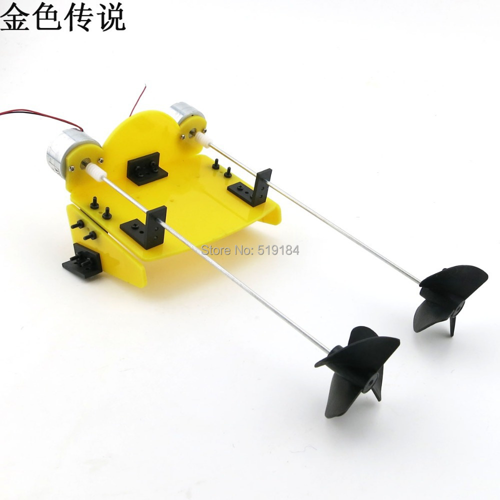 DIY handmade accessories boat ship kit electric two motor propeller power driven for Remote ...
