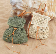 2016 Summer Women Straw Backpack Beach Bag Hollow Out Lady Drawstring Backpack Knitted Handmade Crocheted Woven Bag Travel Bag(China (Mainland))