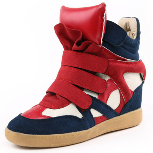 New 2014 Isabel Marant Winter Wedge Sneakers For Women Fashion Height Increasing Canvas High Heels Sneakers Platform Black Red(China (Mainland))