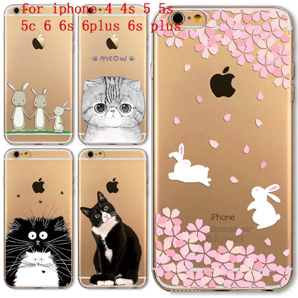For Apple iPhone 4 4S 5 5S SE 5C 6 6S 6Plus 6s Plus Soft Silicon Transparent Phone Case Cover Cute Cat Rabbit Owl Phone bag Capa(China (Mainland))