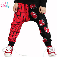 Retail Free shipping Retail 2015 New Unique Design Super Spider man Kids Girls Boys Harem Pants Trousers 2-7Y(China (Mainland))