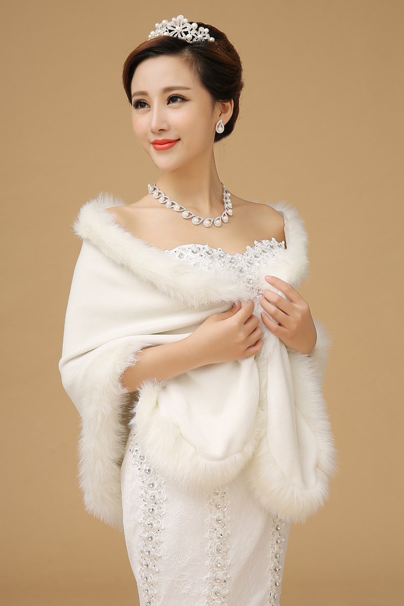 Fashion Faux Fur Wedding Shawl Warm Winter Jacket Bridal Bride Echarpe Wrap Elegant Wedding Accessories(China (Mainland))