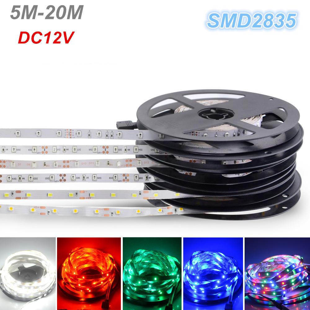 SMD2835 DC12V Led Flexible Strip Light 5M 10M 15M 20M Ribbon Tape Light Non-waterproof KTV Bar Decoration Xmas Lighting(China (Mainland))