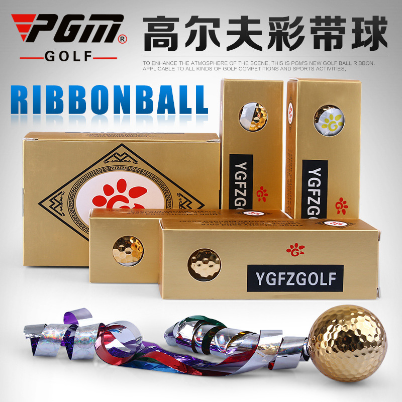 PGM Brand Golf Ball 3 Layers Surlyn Coloured Ribbon Gold The Kick Off Ceremony Gift Open With Pattern 3 balls / box(China (Mainland))