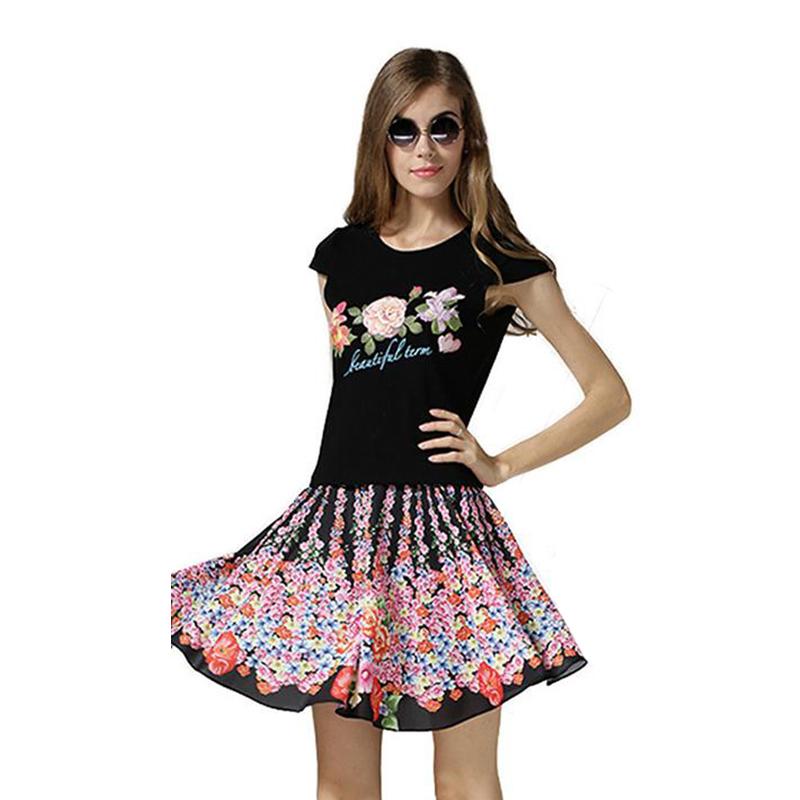 2015 summer style skirt set flower print o neck t