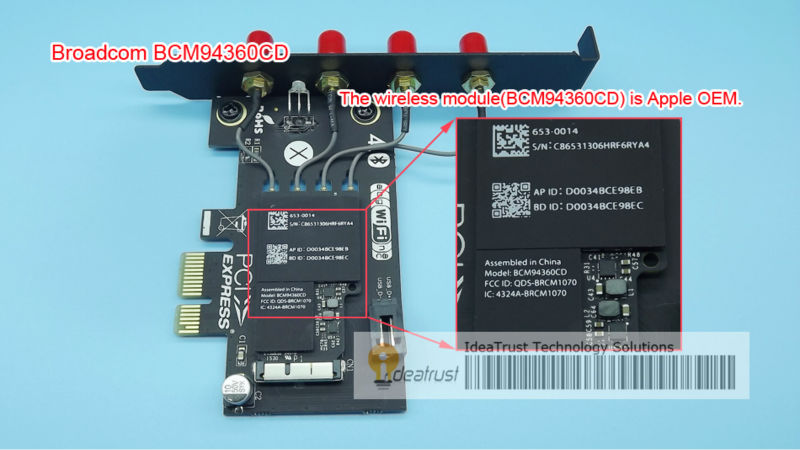 Broadcom BCM94360CD Dual-band 2.4GHz&amp;5GHz a/b/g/n  Wireless Card with BT4.0 for Apple<br><br>Aliexpress