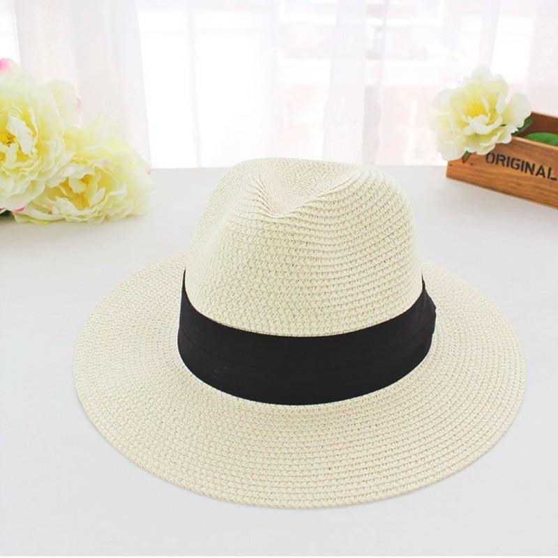 Лето vogue классический черный пояс джаз вс hat, флоппи соломы панама пляж шляпы для женщин чаепитие, chapeu feМиниno, сомбреро mujer