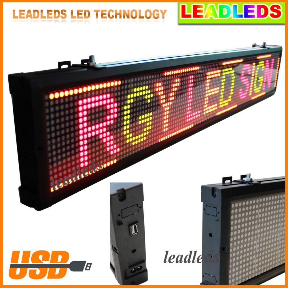 "40""x 6.3"" USB Programmable advertising LED Display Sign Board Support two lines of text Red, green, yellow 3 Color Display(China (Mainland))"