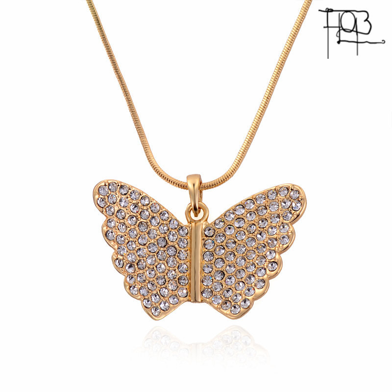 2016 New Arrivals18K Gold Plated Austrian Crystal Pendant Necklace Fashion Jewelry Crystal Butterfly Pendants Women Lady(China (Mainland))