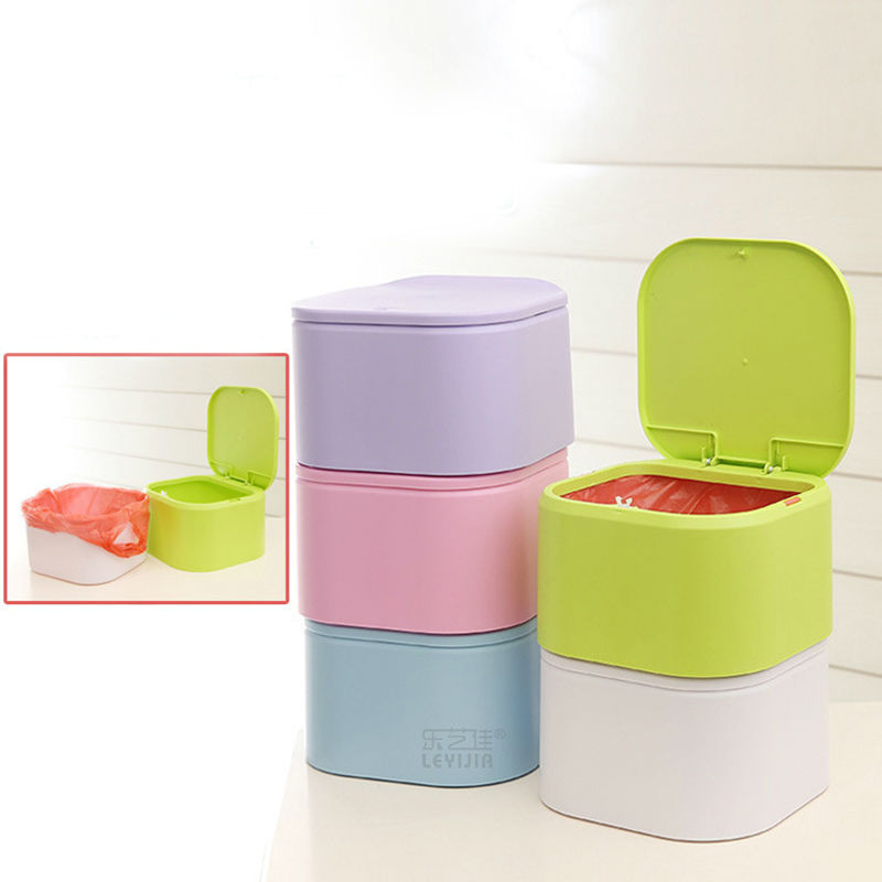 2016 Colorful Detachable Portable Plastic Dustbin Kitchen Trash Can Table Waste bin Container Desk Organizer kids car garbage(China (Mainland))