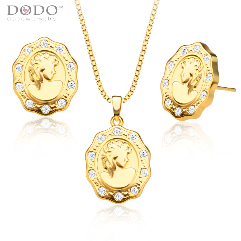 Luxury Austrian crystal Queen Pendants Necklaces Earrings Jewelry Set 18K Gold Plated Fashion Jewelry Sets gifts S20127(China (Mainland))