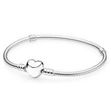 New Silver Plated Bead Charm Love Heart Clasp Snake Chain Beads Fit Women Pandora Bracelet Bangle DIY Jewelry With Logo(China (Mainland))