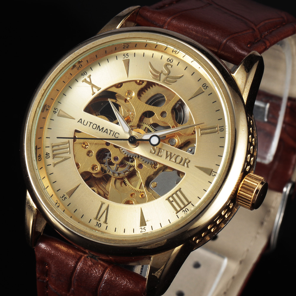 Casual Fashion Men's Watches Men Luxury Brand Skeleton Dial Leather Strap Mechanical Watch Vintage Reloj Dress Relogio Masculino(China (Mainland))