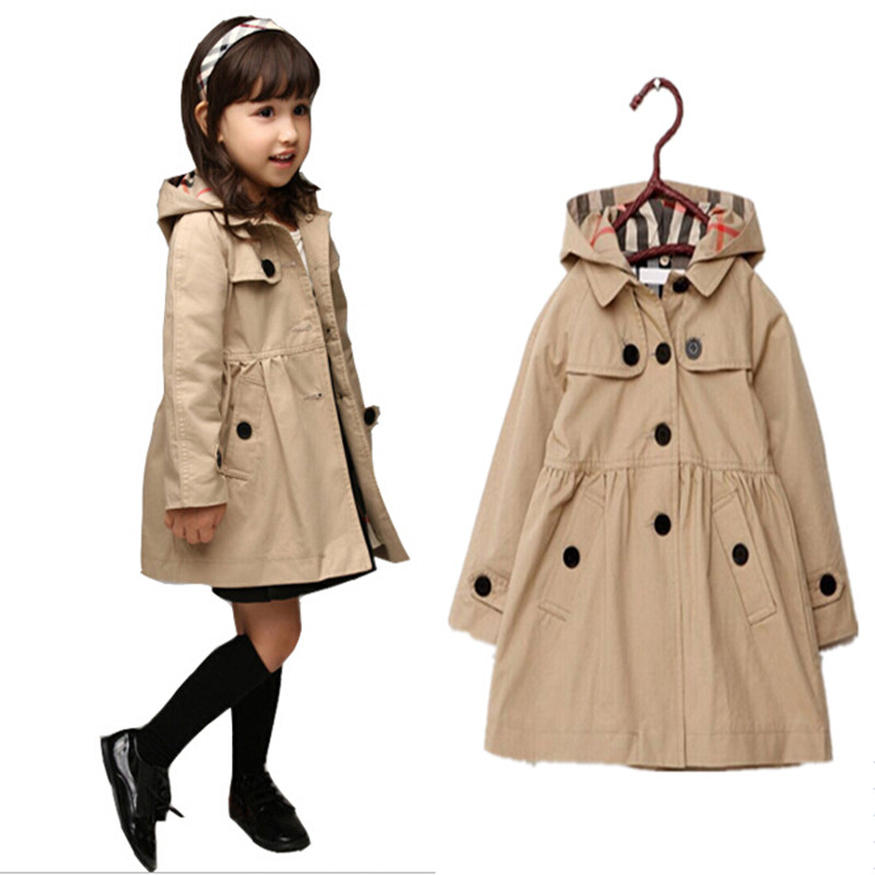 Retail!! 3-10T Baby Girls Cotton Long Sleeve Coat&Outwear,Children Korean Cotton Trench coat,Girls Spring Fashion Coat&Jacket(China (Mainland))