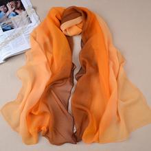 Nice Chiffon Scarf Women High Quality Gradual colors chiffon georgette silk scarves shawl female long design(China (Mainland))