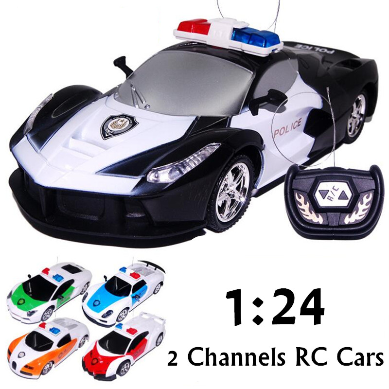 2016 New 1/24 Mini RC Radio Remote Control Micro Racing Police RC Car Siren Light Cars Controller Toy Gift