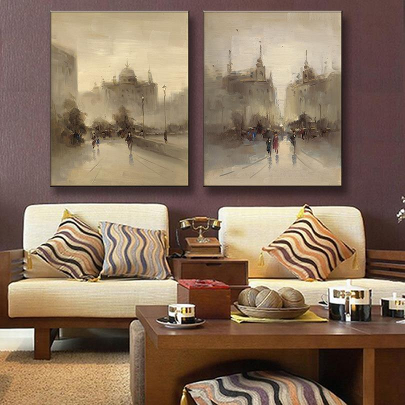 2 Pcs/Set Retro Artist Landscape Canvas Printed Painting Abstract Streetscape Canvas Painting Yellow Wall Picture Home decor(China (Mainland))