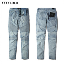 YVYVLOLO Represent Clothing Designer Pants Blue/Black Destroyed Mens Slim Denim Straight Biker Skinny Jeans Ripped Jeans 28-40