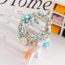 Woman Jewelry 2016 Fashion Bohemia Style Multilayer Metal Bracelet Colorful Beads Coin Tassel Bracelets(China (Mainland))
