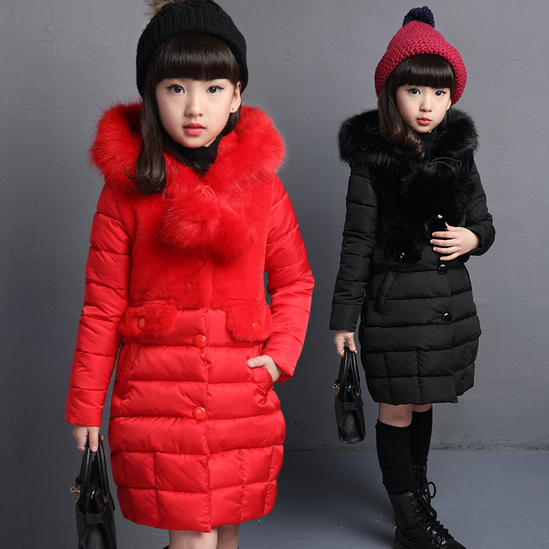 2016 New girl Winter Cotton-padded Jacket Children's Fashion Coat girl Warm Jacket Baby girl Zipper Hooded Kids Clothes(China (Mainland))