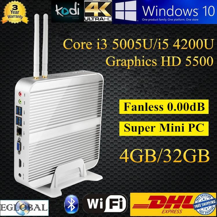 DHL Free Shipping Kodi Openelec Linux 4K HD HTPC Intel Core i5 4200U i3 5005U 5500 Graphics 4GB DDR3L 32GB SSD Broadwell MINI PC(China (Mainland))