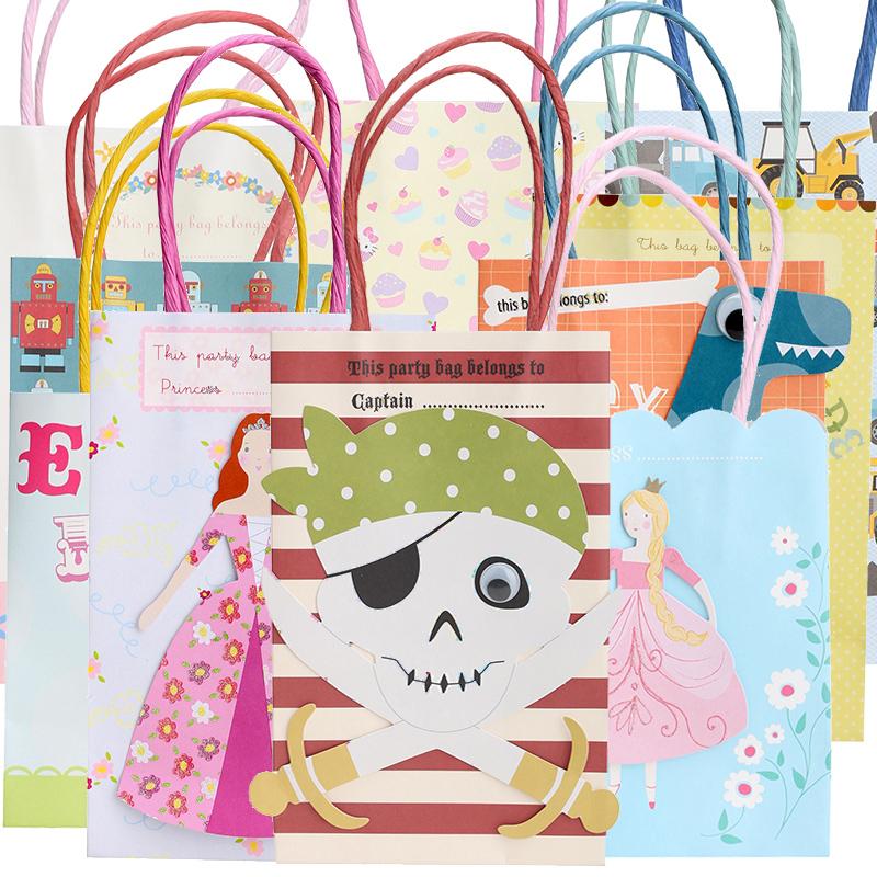 Free Shipping 5Pcs Pirate/Princess/Dinosaur Gift Bag Kids Birthday Party Candy Bag Gift Hand Bag(China (Mainland))