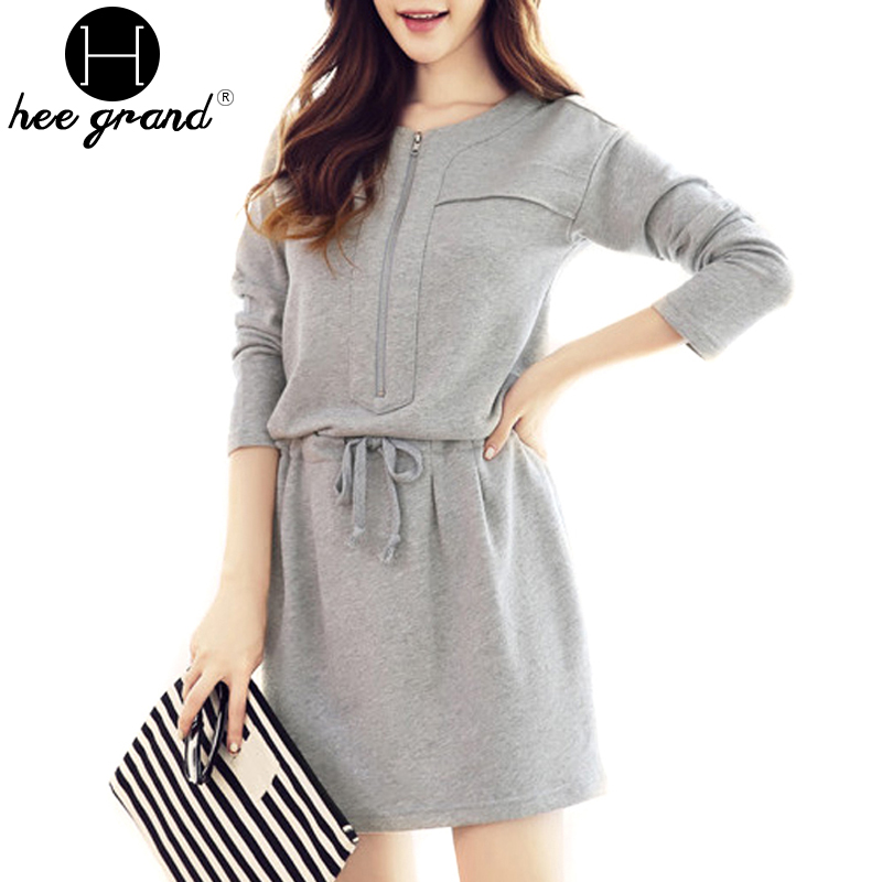 Vestidos 2016 Long Sleeve Round Collar High Waist Women Dress Ladies Grey Colour Autumn Dresses WQL3050(China (Mainland))