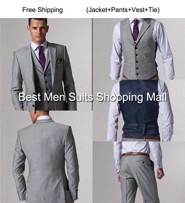 Italian Luxury Mens Grey Suits Jacket Pants Formal Dress Men Suit Set men wedding suits groom tuxedos(jacket+pants+vest+tie))