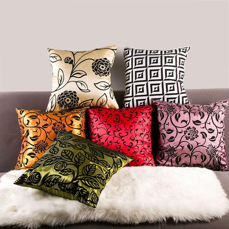Colorful Chinese Floweral Square Bed Sofa Cushion Pillowcase Flower Car Throw 43*43cm Home Decor(China (Mainland))