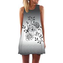Летнее платье женское роковой цветочный принт летнее мини-платье без рукавов сексуальное Vestidos De Festa повседневное пляжное платье(China)