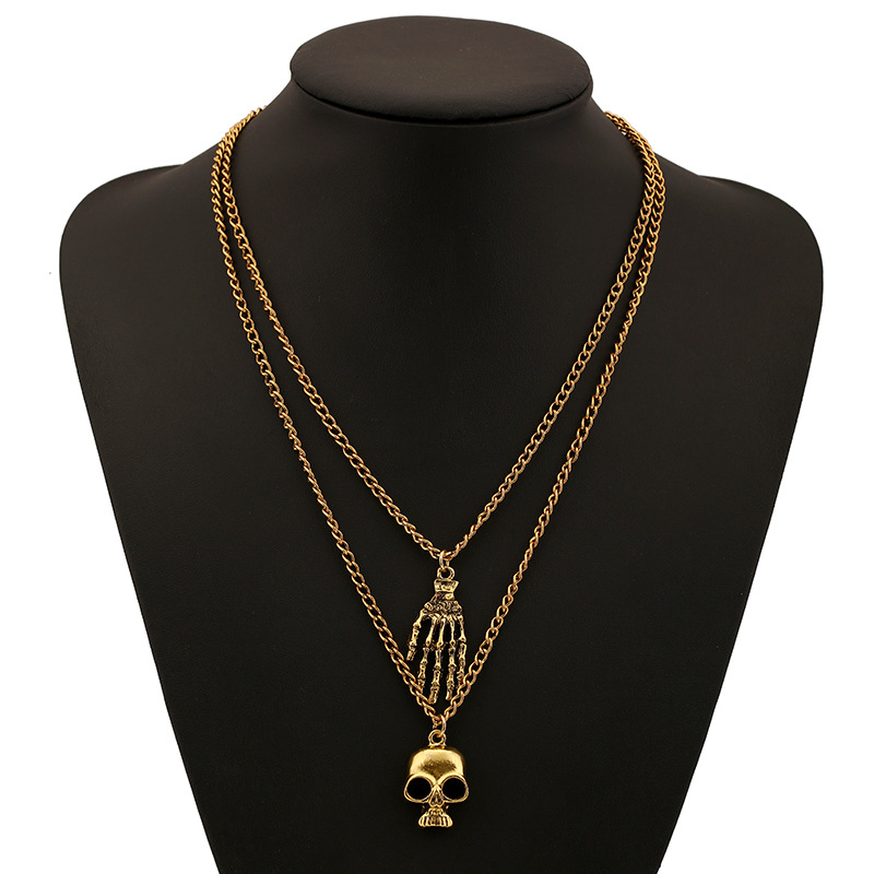 Western New Fashion Simple Vintage Gold Silver Plated Skull Palm Pendant Necklace For Women Jewelry(China (Mainland))