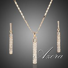AZORA 18K Real Gold Plated Stellux Drop Earrings and Pendant Necklace Jewelry Sets TG0007(China (Mainland))
