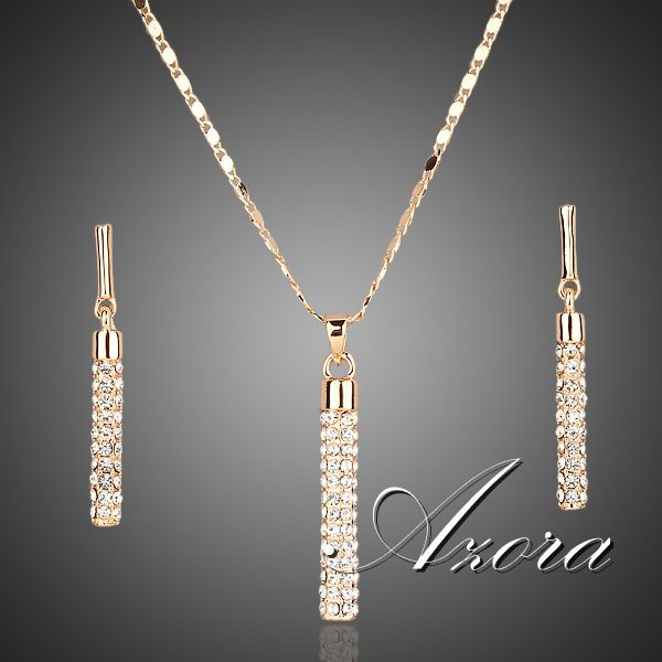AZORA 18K Real Gold Plated Stellux Drop Earrings and Pendant Necklace Sets TG0007(China (Mainland))
