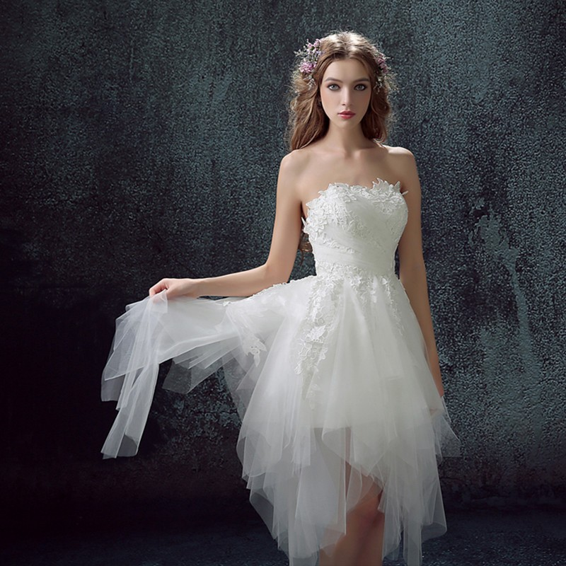 2016 High Fashion Sexy Ruched Tulle Wedding Dress Short Front Long Back In We