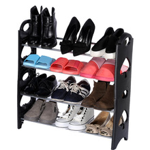 Simple Stackable 4 Tier 12 Pair Shoes Free Standing Shoe Rack Chrome Metal Fashion Footwear Cabinet Storage(China (Mainland))