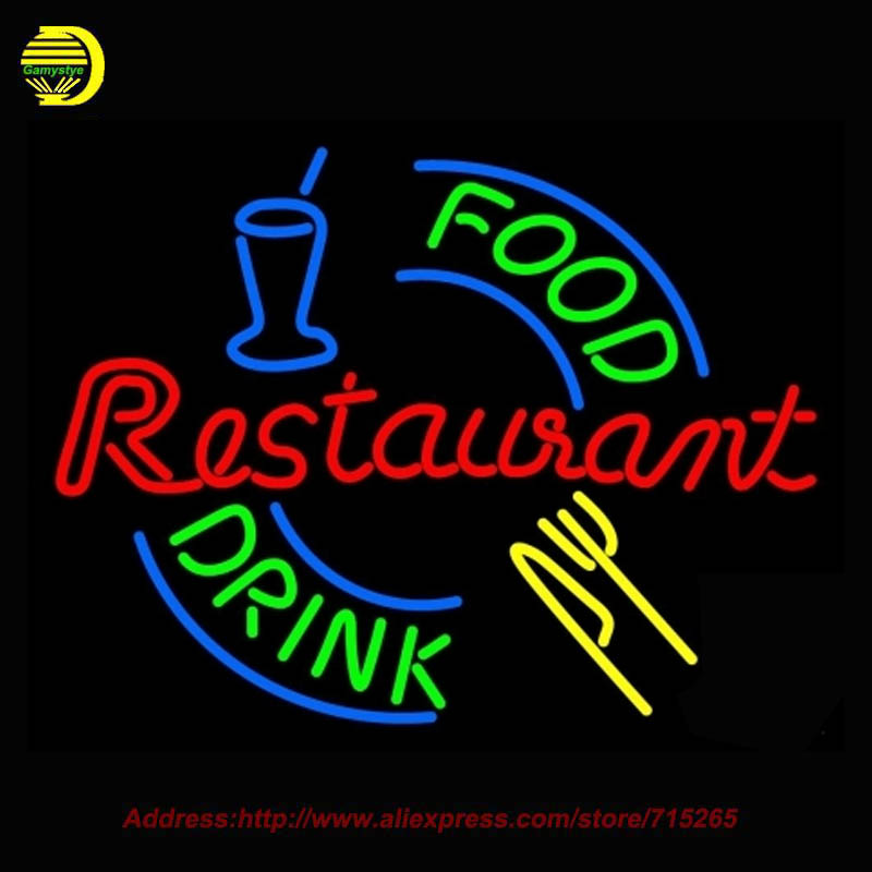 Hot Food And Drink Restaurant Neon SIGN Neon Bulb Recreation Bar Glass Tube Handcraft Advertise Affiche Neon Store Display 24x20(China (Mainland))