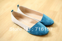 Female new arrival single shoes shallow mouth color block decoration gentlewomen pointed toe flat heel work shoes Free shipping(China (Mainland))