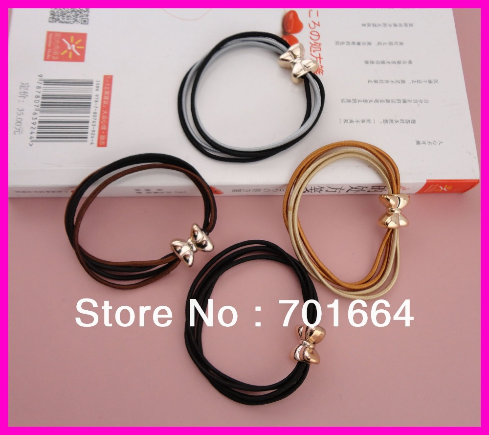 BARGAIN for BULK 4 pieces 2mm elastic hairbands combined ponytail holders with golden bows connection(China (Mainland))