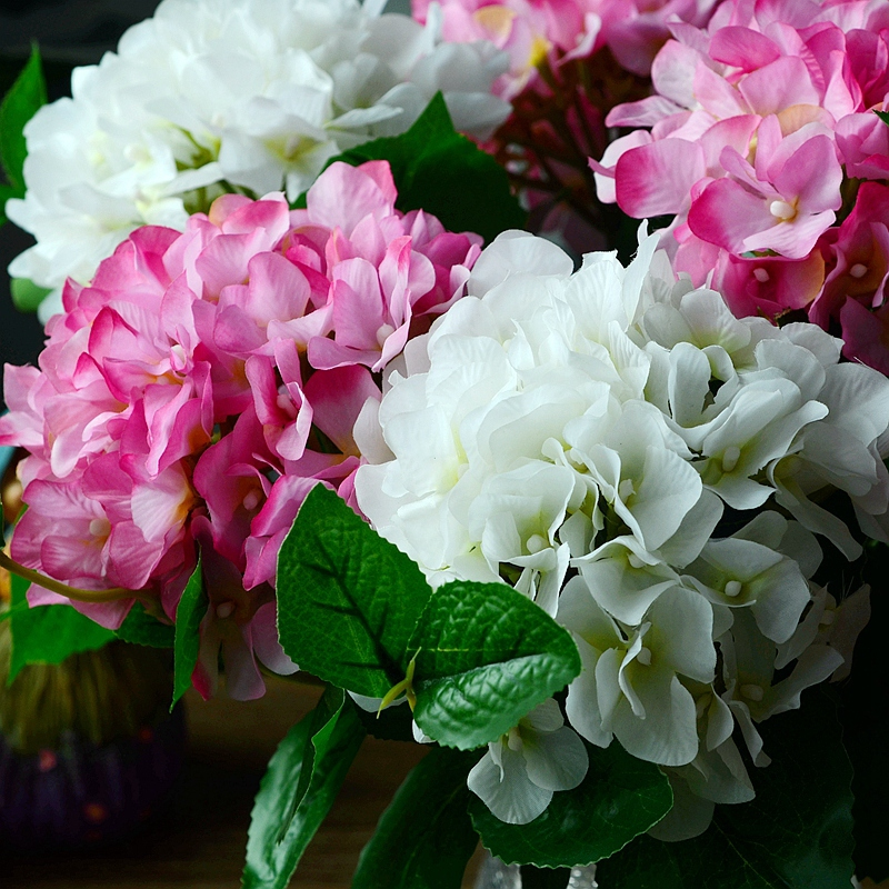 artificial silk plastic flowers fake bouquet cheap for wedding decoration Single hydrangea represents hope reunion(China (Mainland))